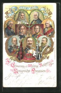 Präge-AK Könige Preussens, Friedrich Wilhelm III. von Preussen, Wilhelm II., Friedrich der Grosse