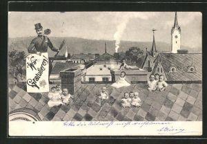 AK Schornsteinfeger mit Babys auf dem Dach, Glückwunschkarte
