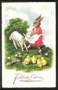 AK Osterhasenfrau mit Lämmchen und Küken, Ostergruss