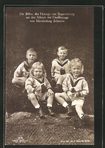AK Die Söhne des Grossherzog von Mecklenburg-Schwerin mit den Söhnen des herzogs von Braunschweig