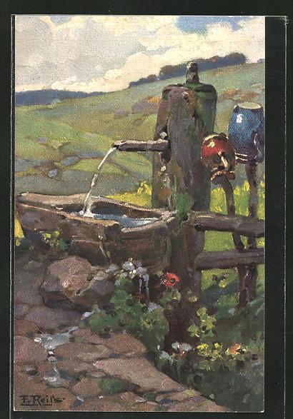 Künstler-AK Fritz Reiss: Schwarzwald-Quellen