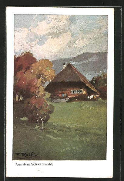 Künstler-AK Fritz Reiss: Bauernhauis im Schwarzwald