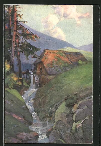 Künstler-AK Fritz Reiss: Herbst im Schwarzwald
