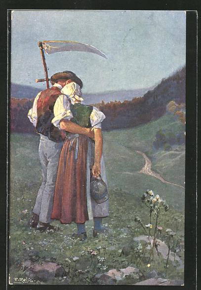 Künstler-AK Fritz Reiss: Schwarzwälder Leben, Bauernpaar
