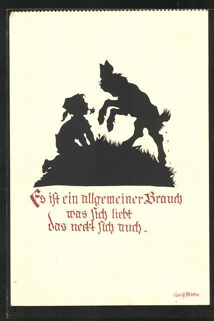 Künstler-AK Georg Plischke: Es ist ein allgemeiner Brauch, was sich liebt, das neckt sich auch, Knabe und Ziege