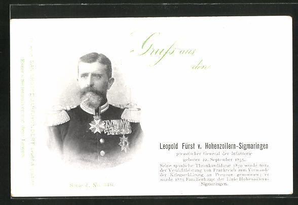AK Leopold Fürst von Hohenzollern-Sigmaringen, preussischer General der Infanterie