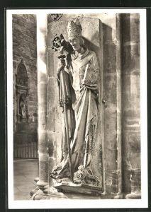 Foto-AK Walter Hege, Deutscher Kunstverlag, Nr. 27 a: Bamberg, Dom, Grabstein Bischof Friedrichs von Hohenlohe