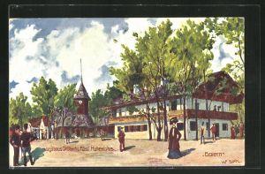 Künstler-AK Ulf Seidl: Wien, I. Internationale Jagdausstellung 1910, Jagdhaus Sr. Durchl. Fürst Hohenlohe