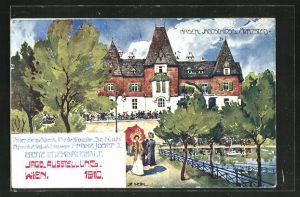 Künstler-AK Ulf Seidl: Wien, Erste Internationale Jagdausstellung 1910, Kaiserl. Jagdschloss Mürzsteg