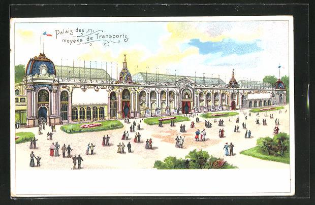 Lithographie Paris, Exposition universelle de 1900, Palais des moyens de Transports