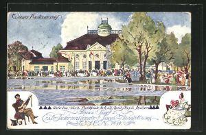Künstler-AK Ulf Seidl: Wien, Erste Internationale Jagdausstellung 1910, Wiener Restaurant
