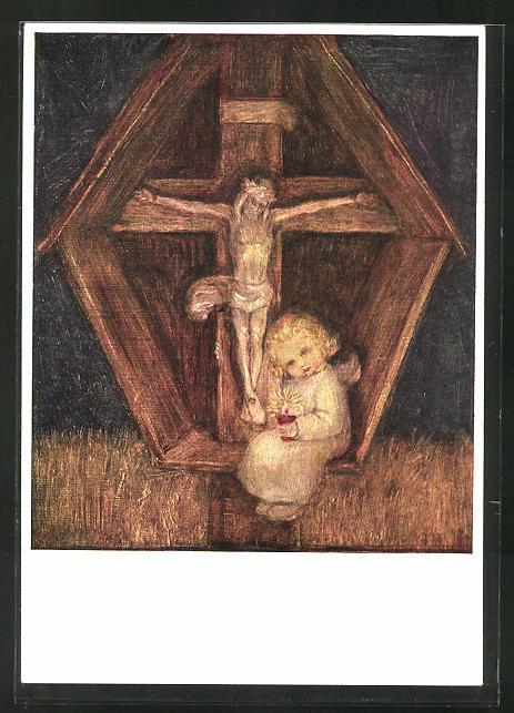 Künstler-AK Maria Spötl: Liebe hält treue Wacht, Engel am Kreuz