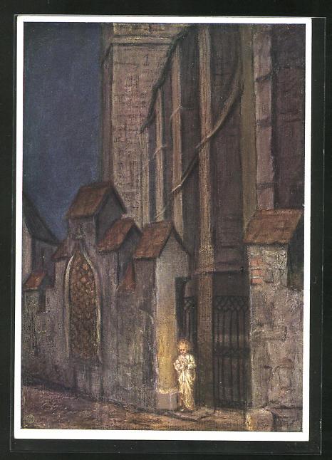 Künstler-AK Maria Spötl: Kleiner Engel vor dem Kirchportal