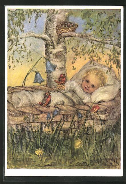 Künstler-AK Maria Spötl: Frohes Erwachen, Kind im Weidenkorb unterm Vogelnest