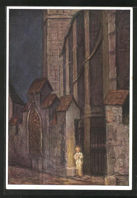 Künstler-AK Maria Spötl: Um Mitternacht..., Engel vor der Kirche