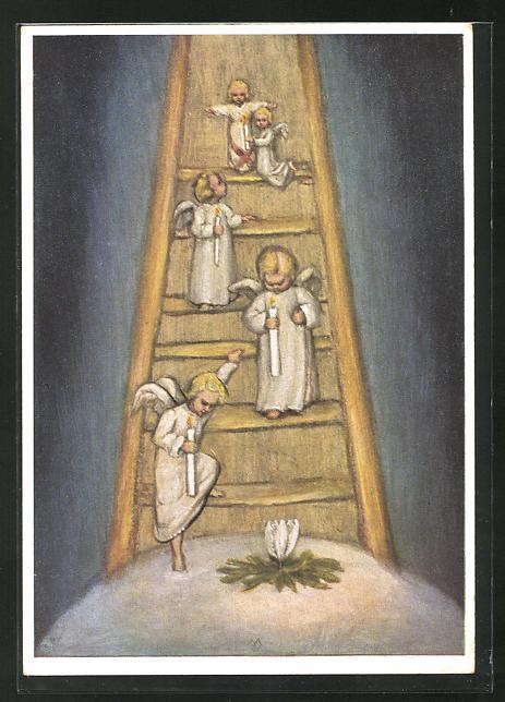 Künstler-AK Maria Spötl: Adventsonntage, Engel
