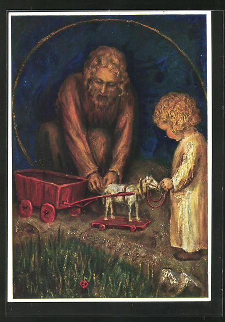 Künstler-AK Maria Spötl: St. Joseph mit Spielzeug und Kind