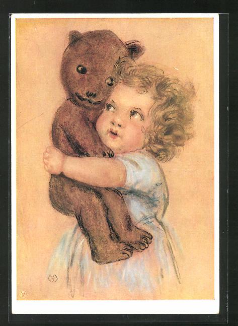Künstler-AK Maria Spötl: Freundschaft, Kind mit Teddy