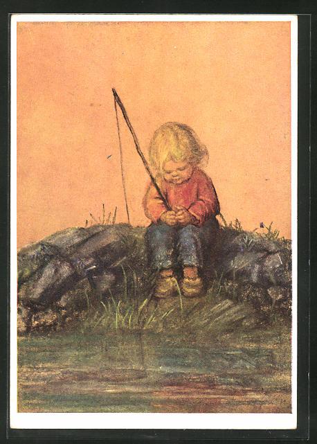 Künstler-AK Maria Spötl: Anglers Glück, Kind mit Angel
