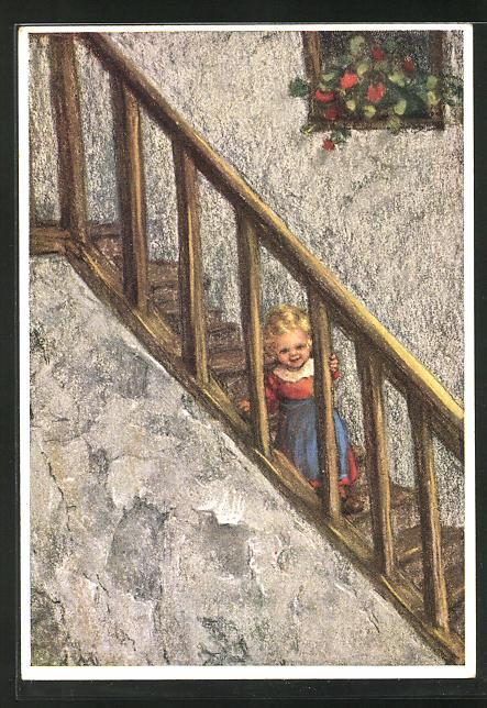 Künstler-AK Maria Spötl: Was gibt's Neues?, Mädchen auf der Treppe