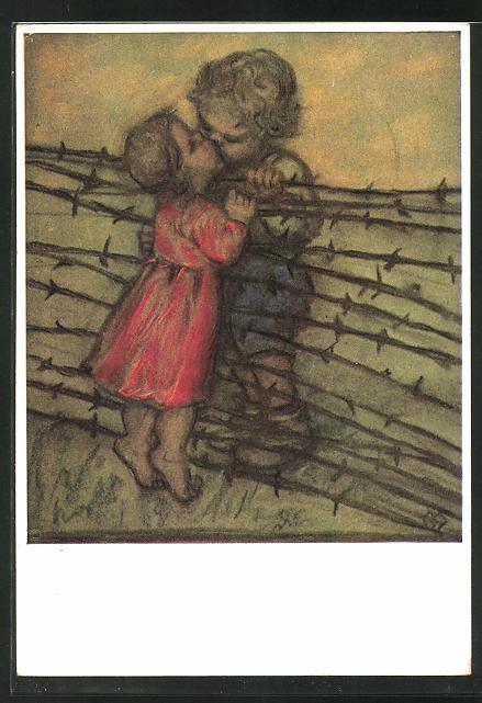 Künstler-AK Maria Spötl: Mit Hindernissen, Kuss am Stacheldraht