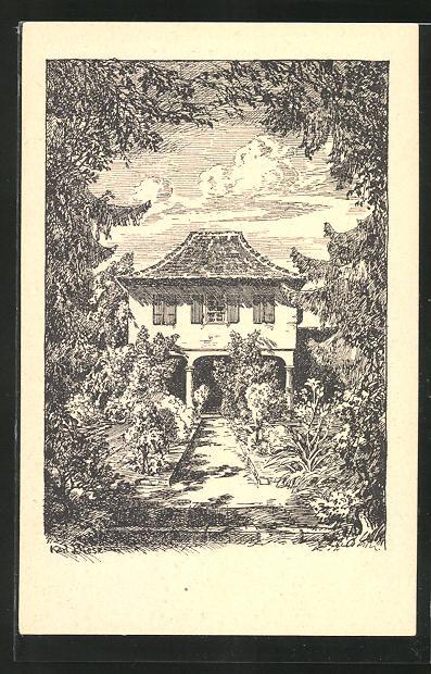 Künstler-AK Carl Biese: Gartenhaus im Hasenbühl