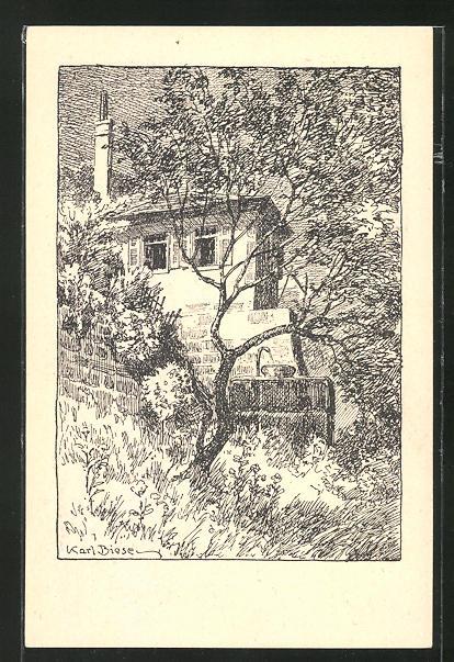 Künstler-AK Carl Biese: Uhlands Gartenhaus