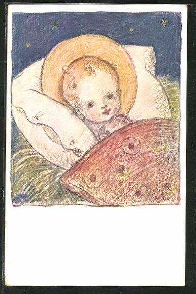 Künstler-AK Josef Bachlechner: Christkind in der Krippe