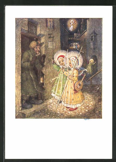 Künstler-AK Josef Bachlechner: Verkündigung in Bethlehem