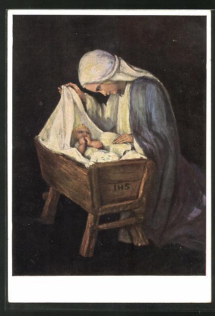 Künstler-AK Maria Spötl: VMS, Mutter mit Kind in Krippe