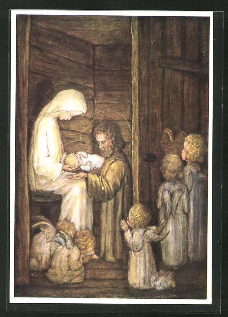 Künstler-AK Maria Spötl: Die erste Weihnacht