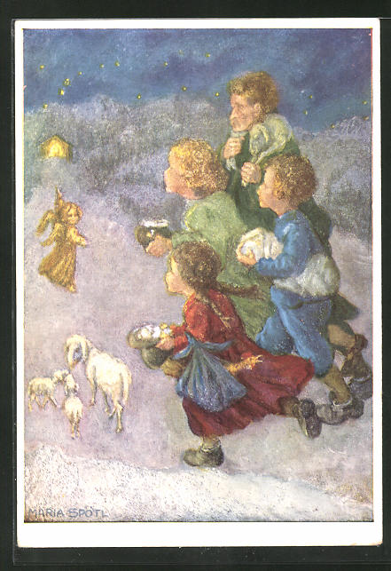 Künstler-AK Maria Spötl: Lasst uns eilen! Weihnachten