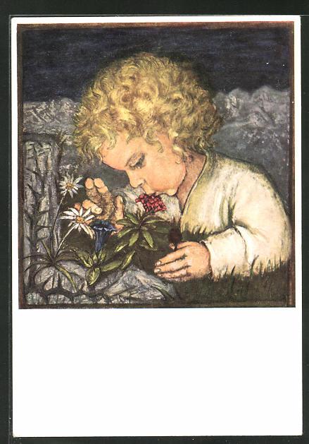 Künstler-AK Maria Spötl: Warum die Alpenrosen rot sind..., blondes Kind