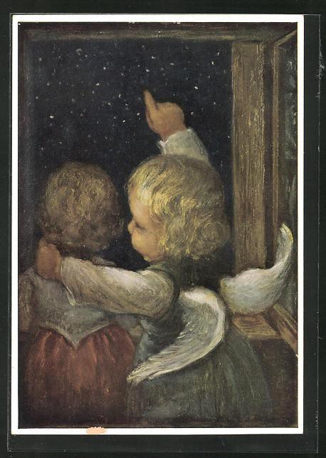 Künstler-AK Maria Spötl: Blick auf zum Sternenmeer..., Kind und Engel
