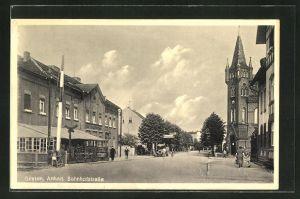 AK Güsten / Anhalt, Bahnhofstrasse mit Shell-Tankstelle und Hotel Deutsches Haus