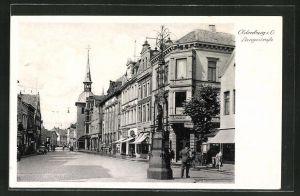 AK Oldenburg i. O., Langestrasse mit Geschäften und Rathaus