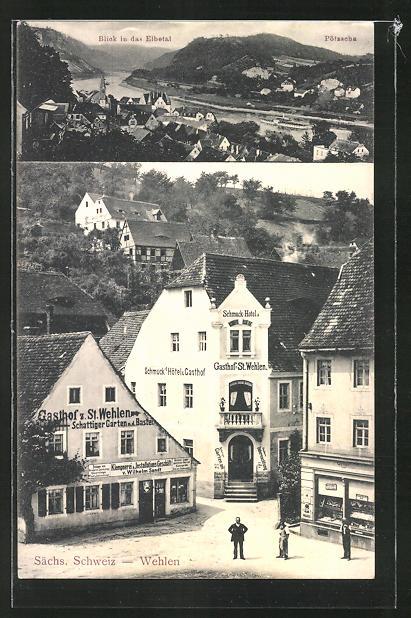 AK Wehlen / Sächs. Schweiz, Schmuck's Hotel & Gasthof, Gasthof z. St. Wehlen, Blick in das Elbetal, Pötzscha 0