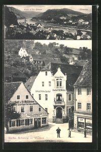 AK Wehlen / Sächs. Schweiz, Schmuck's Hotel & Gasthof, Gasthof z. St. Wehlen, Blick in das Elbetal, Pötzscha