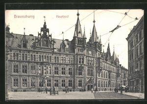 AK Braunschweig, Ortspartie mit Blick auf die Kaiserl. Ober-Postdirection mit Passanten und Kutsche