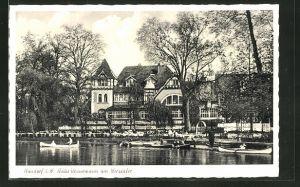 AK Handorf i. W., Flusspartie mit Haus Kaffee-Restaurant u. Pension Vennemann am Werseufer, Inh. Josef Pottebaum