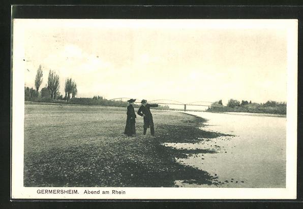 AK Germersheim, Abendpartie am Rhein