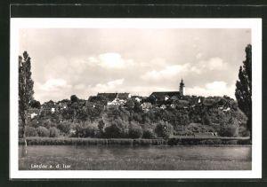 AK Landau / Isar, Ortsansicht vom Flussufer aus gesehen
