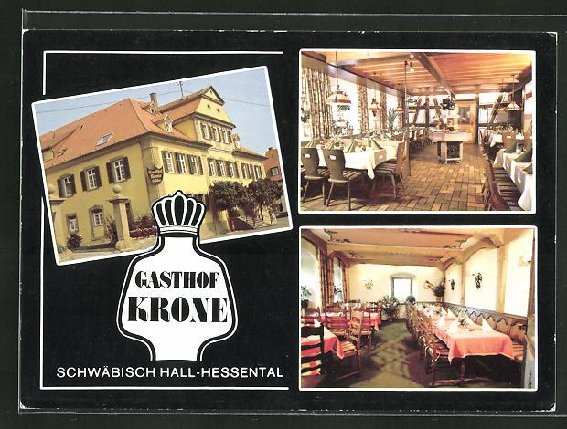 AK Schwäbisch Hall-Hessental, Gasthof Krone mit Speisesaal