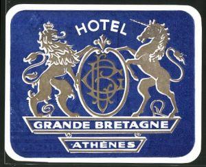 Kofferaufkleber Athen-Athenes, Hotel Grande Bretagne, Wappen mit Löwe und Einhorn