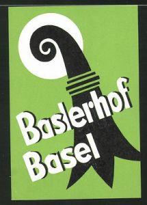 Kofferaufkleber Basel, Hotel Baslerhof, Ornament