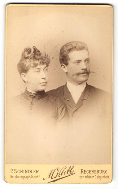 Fotografie P. Schindler, Regensburg, Portrait junges bürgerliches Paar