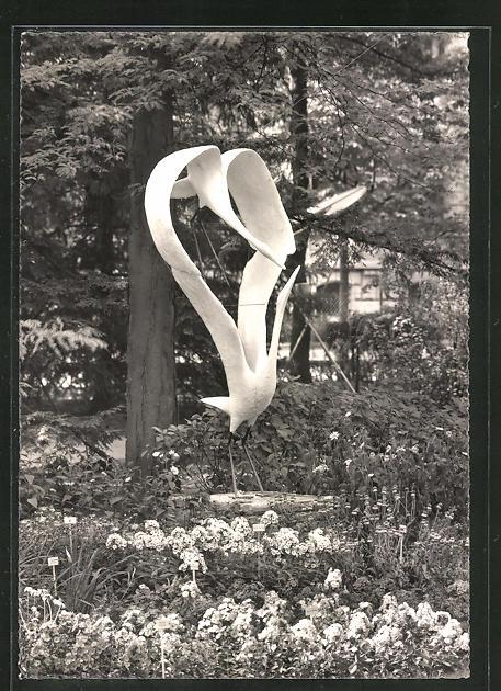 AK Zürich, ZÜKA Kantonale Landwirtschafts- & Gewerbe-Ausstellung 1947, Sondergarten Carl Frikart, Stäfa m. Plastik