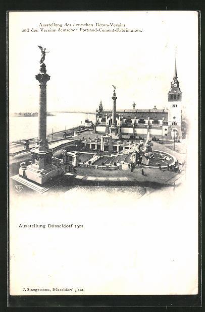 AK Düsseldorf, Ausstellung des deutschen Beton-Vereins und des Vereins deutscher Portland-Cement Fabrikanten 1902