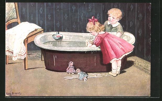 Künstler-AK Elly Frank: Puppenwäsche, Kinder baden ihre Puppen in der Wanne