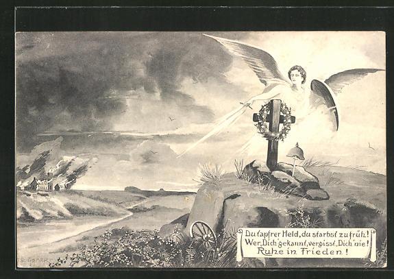 AK Engel mit Schwert über einem Kriegsgrab